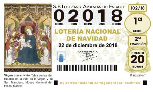 Décimo Lotería 2018; Décimos del Sorteo Extraordinario de Lotería de Navidad 2018
