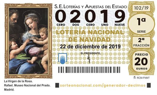 Décimo Lotería 2019; Décimo del Sorteo Extraordinario de Lotería de Navidad 2019