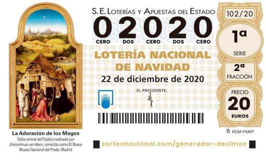Décimo Lotería 2020; Décimo del Sorteo Extraordinario de Lotería de Navidad 2020