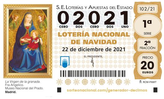 Décimo Lotería 2021; Décimo del Sorteo Extraordinario de Lotería de Navidad 2021