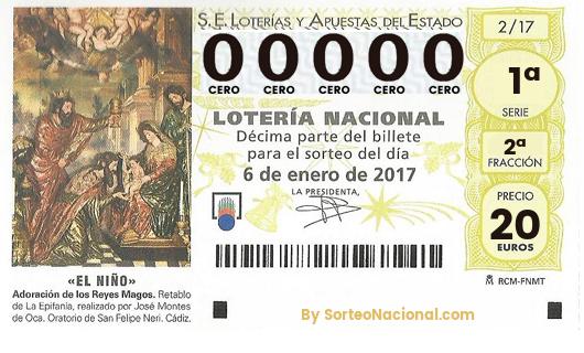 Décimo Lotería El Niño 2017; Décimos del Sorteo Extraordinario de Lotería de El Niño 2017